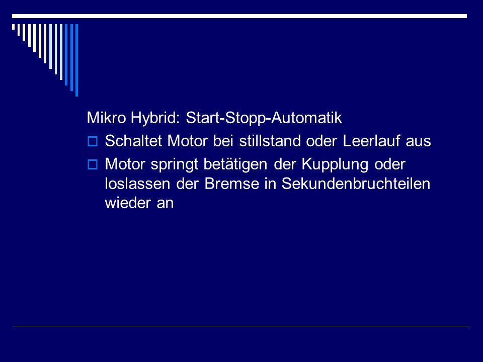 Mikro Hybrid: Start-Stopp-Automatik