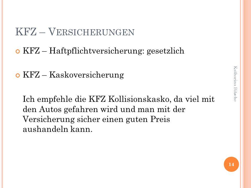 KFZ – Versicherungen KFZ – Haftpflichtversicherung: gesetzlich