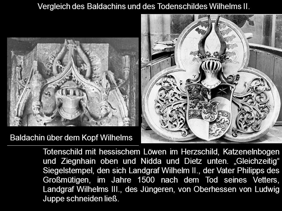 Vergleich des Baldachins und des Todenschildes Wilhelms II.