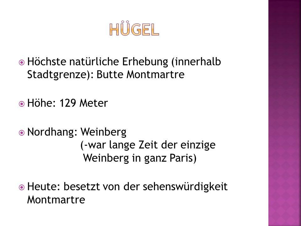 Hügel Höchste natürliche Erhebung (innerhalb Stadtgrenze): Butte Montmartre. Höhe: 129 Meter.