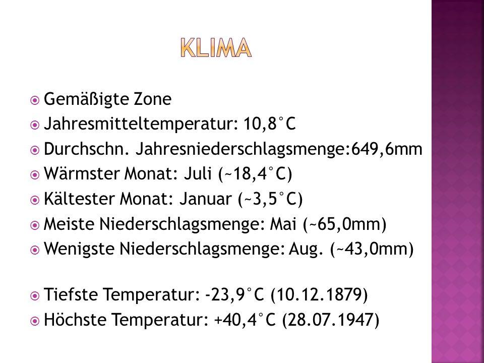 Klima Gemäßigte Zone Jahresmitteltemperatur: 10,8°C