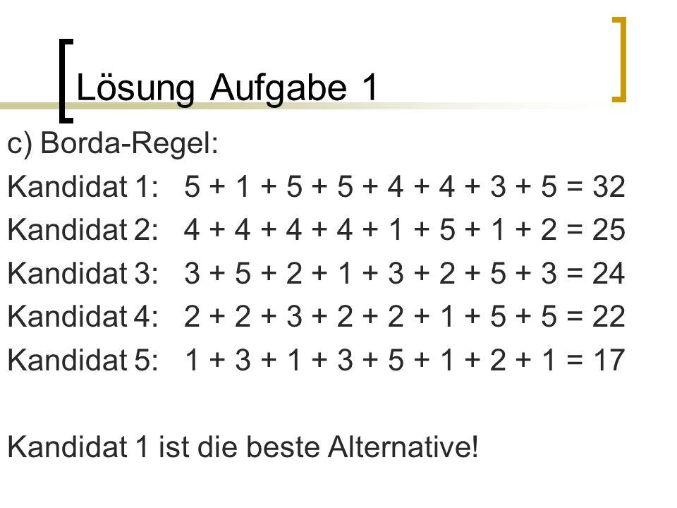 Lösung Aufgabe 1 c) Borda-Regel: