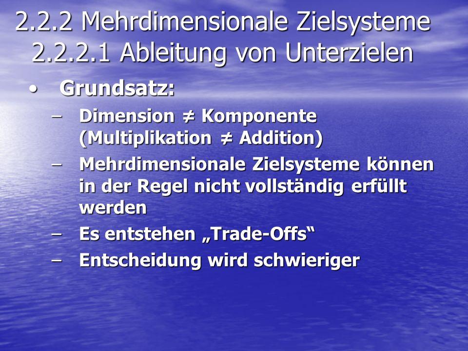 2.2.2 Mehrdimensionale Zielsysteme 2.2.2.1 Ableitung von Unterzielen