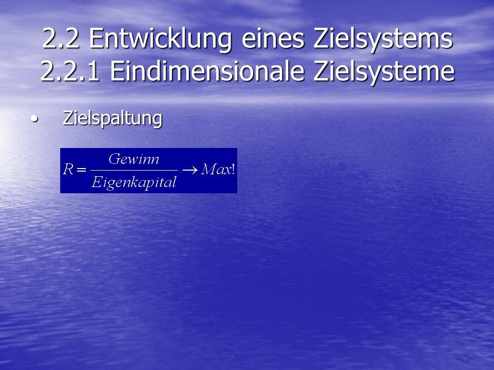 2.2 Entwicklung eines Zielsystems 2.2.1 Eindimensionale Zielsysteme