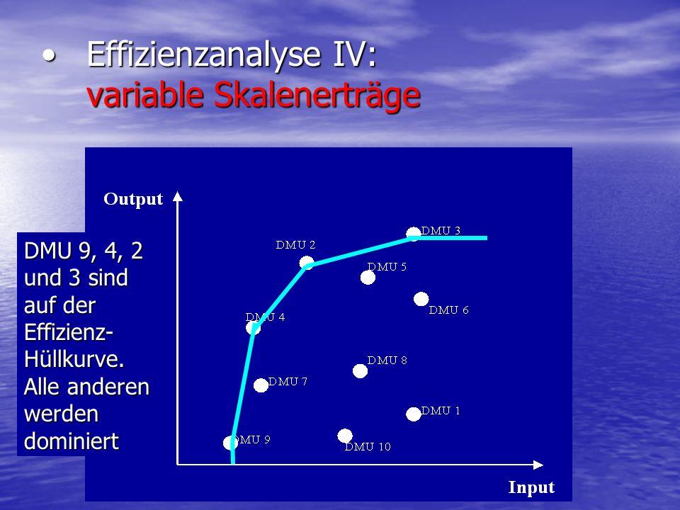 Effizienzanalyse IV: variable Skalenerträge