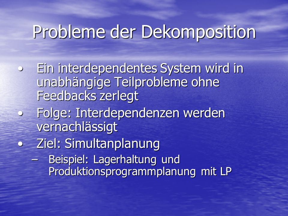 Probleme der Dekomposition