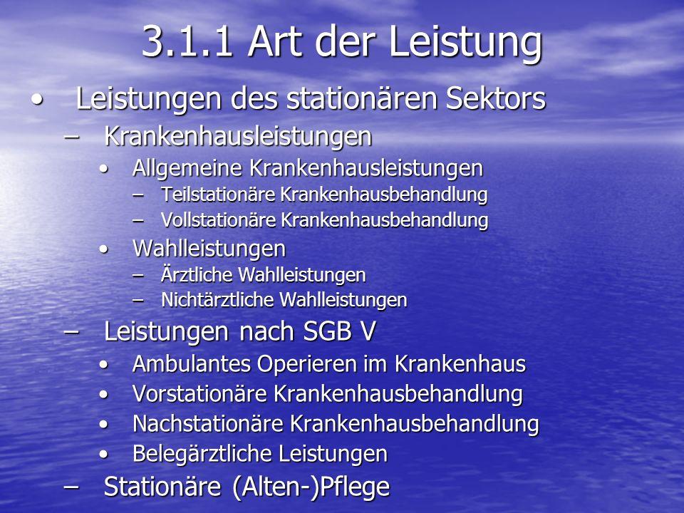 3.1.1 Art der Leistung Leistungen des stationären Sektors