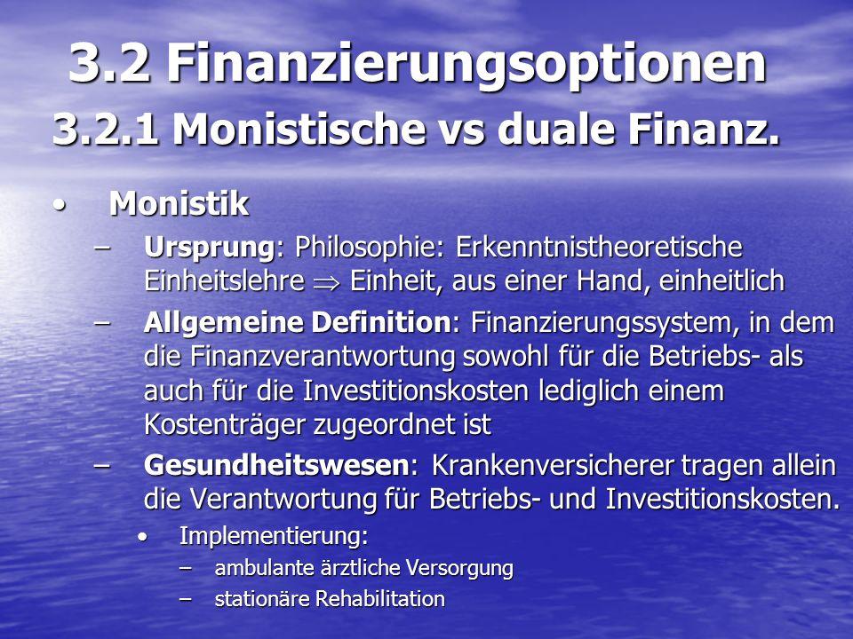 3.2 Finanzierungsoptionen 3.2.1 Monistische vs duale Finanz.