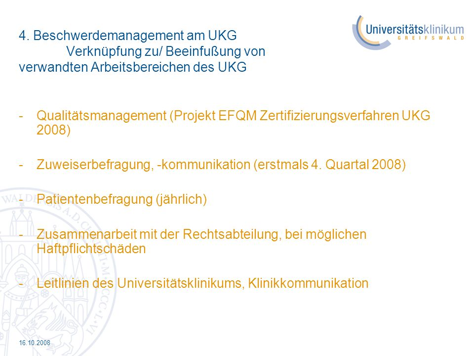 Qualitätsmanagement (Projekt EFQM Zertifizierungsverfahren UKG 2008)