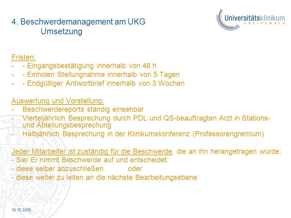 4. Beschwerdemanagement am UKG Umsetzung