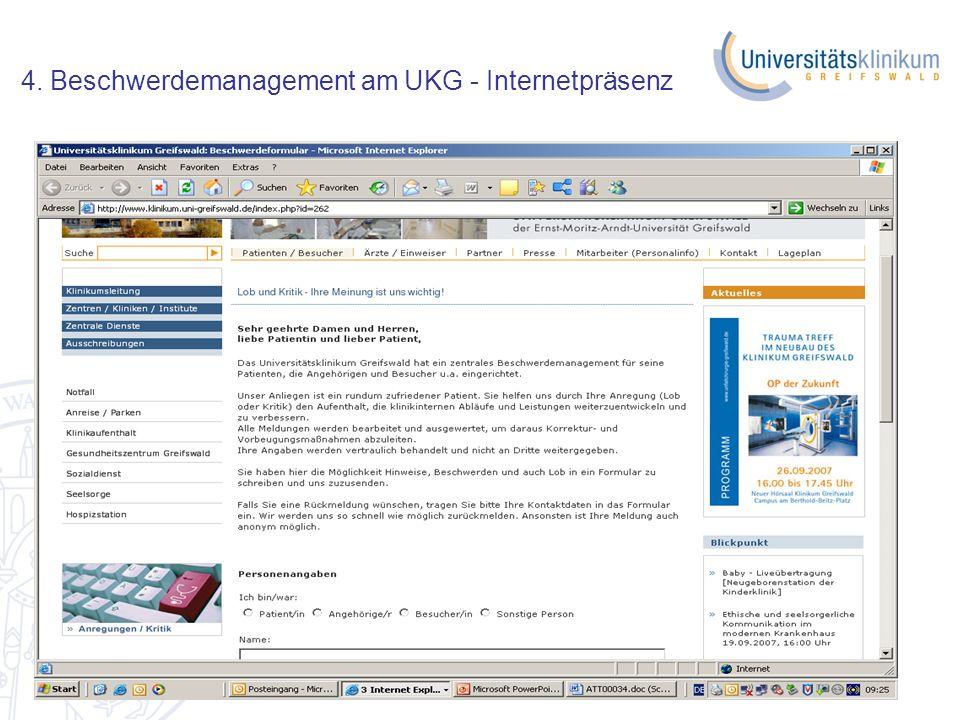 4. Beschwerdemanagement am UKG - Internetpräsenz