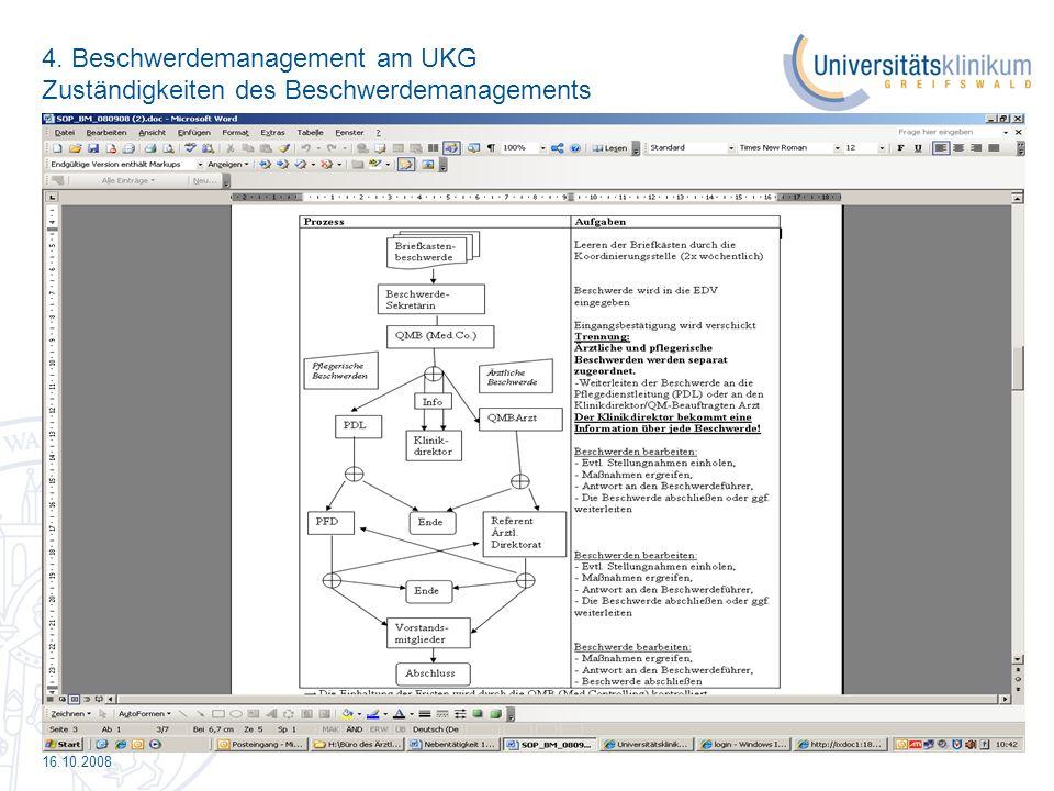 4. Beschwerdemanagement am UKG Zuständigkeiten des Beschwerdemanagements