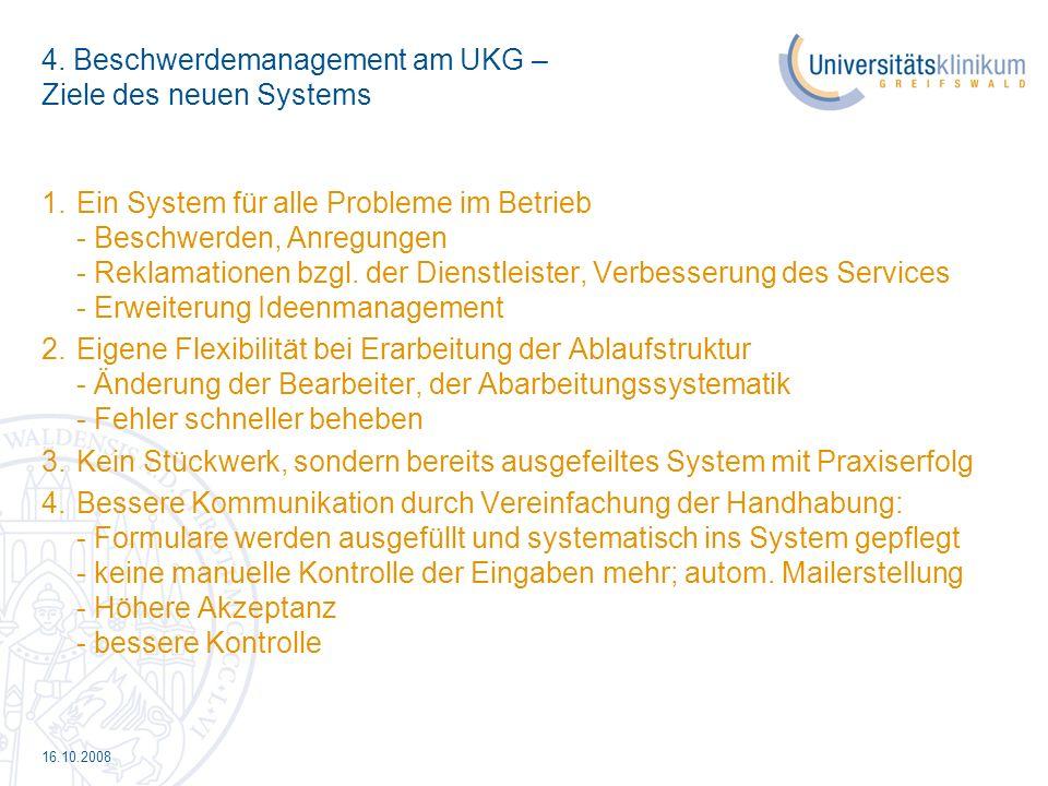 4. Beschwerdemanagement am UKG – Ziele des neuen Systems
