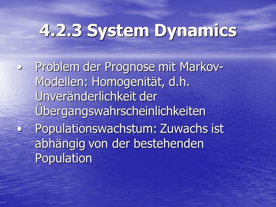 4.2.3 System Dynamics Problem der Prognose mit Markov-Modellen: Homogenität, d.h. Unveränderlichkeit der Übergangswahrscheinlichkeiten.