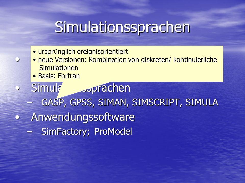 Simulationssprachen Programmiersprachen (Fortran, C, Delphi,…)