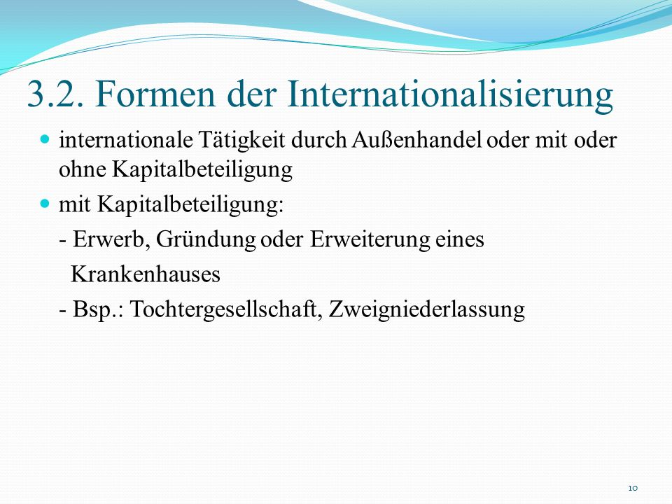 3.2. Formen der Internationalisierung