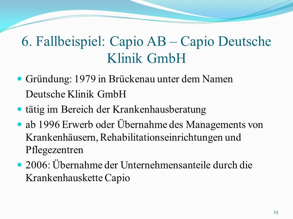 6. Fallbeispiel: Capio AB – Capio Deutsche Klinik GmbH