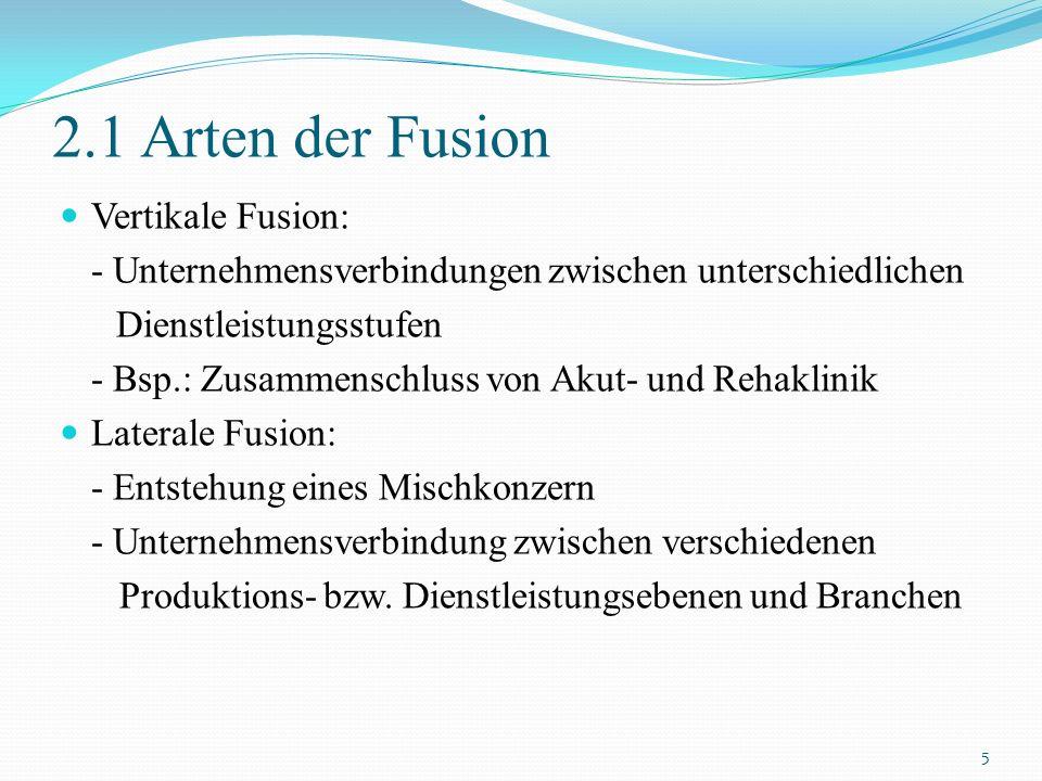 2.1 Arten der Fusion Vertikale Fusion: