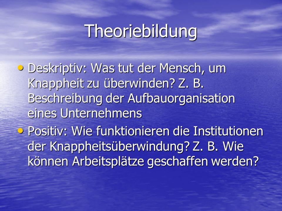 Theoriebildung Deskriptiv: Was tut der Mensch, um Knappheit zu überwinden Z. B. Beschreibung der Aufbauorganisation eines Unternehmens.