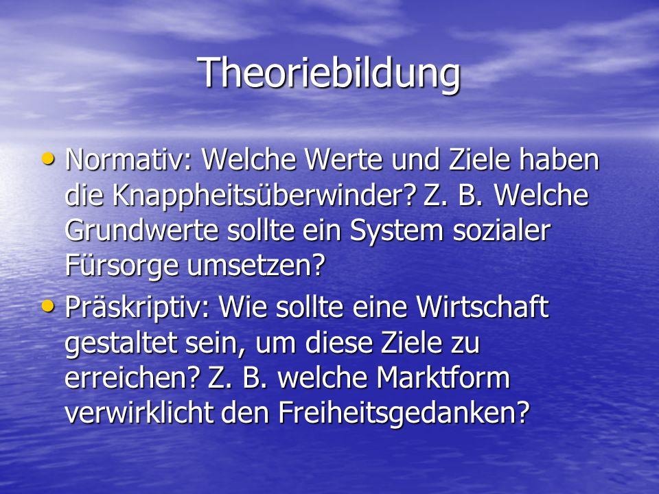 Theoriebildung Normativ: Welche Werte und Ziele haben die Knappheitsüberwinder Z. B. Welche Grundwerte sollte ein System sozialer Fürsorge umsetzen
