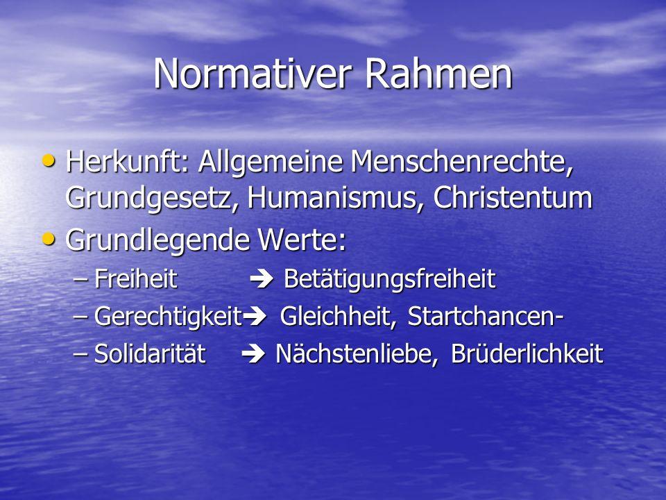 Normativer Rahmen Herkunft: Allgemeine Menschenrechte, Grundgesetz, Humanismus, Christentum. Grundlegende Werte: