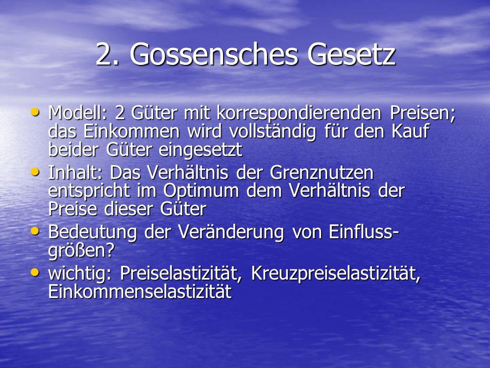 2. Gossensches Gesetz Modell: 2 Güter mit korrespondierenden Preisen; das Einkommen wird vollständig für den Kauf beider Güter eingesetzt.