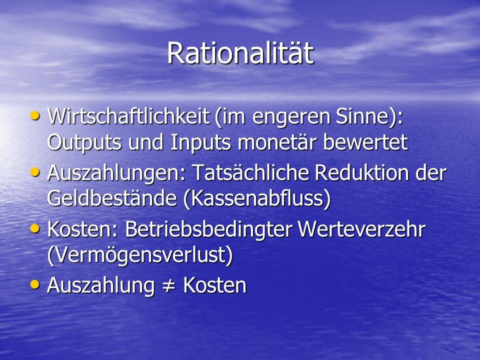 Rationalität Wirtschaftlichkeit (im engeren Sinne): Outputs und Inputs monetär bewertet.