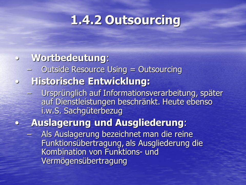 1.4.2 Outsourcing Wortbedeutung: Historische Entwicklung:
