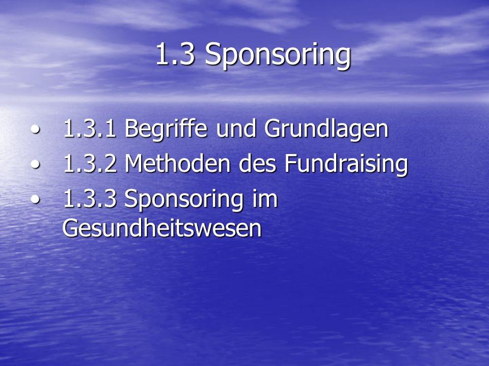 1.3 Sponsoring 1.3.1 Begriffe und Grundlagen