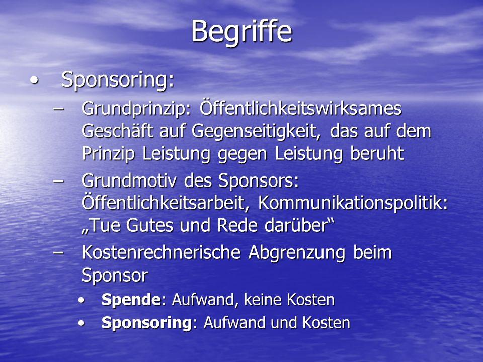 Begriffe Sponsoring: Grundprinzip: Öffentlichkeitswirksames Geschäft auf Gegenseitigkeit, das auf dem Prinzip Leistung gegen Leistung beruht.