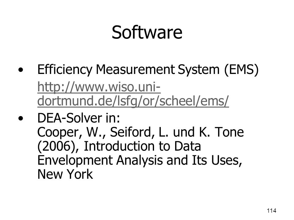 Software Efficiency Measurement System (EMS)