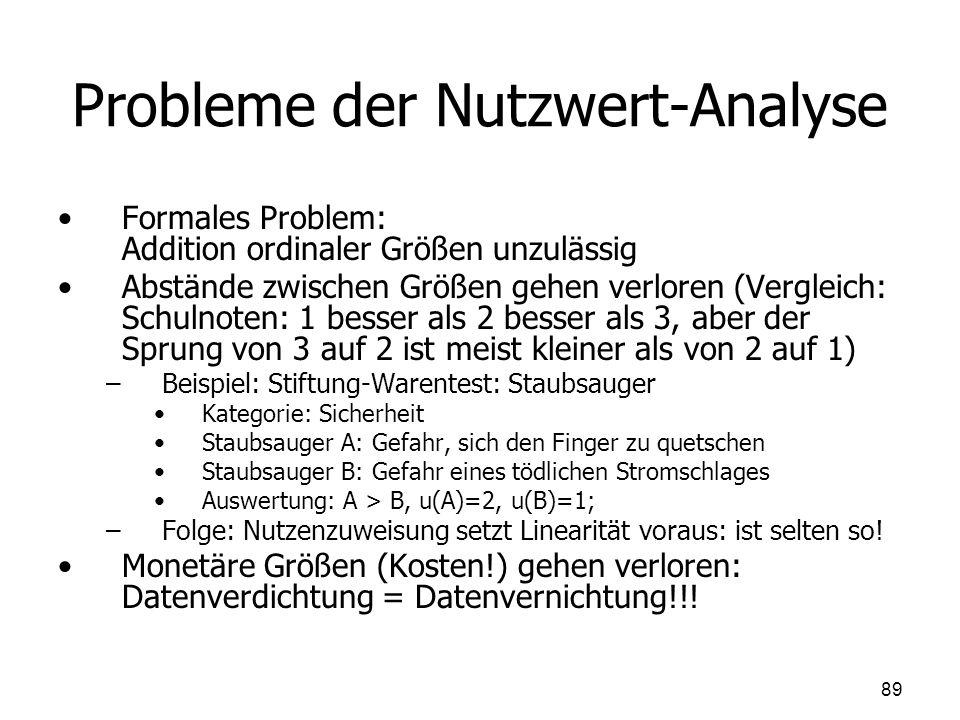 Probleme der Nutzwert-Analyse