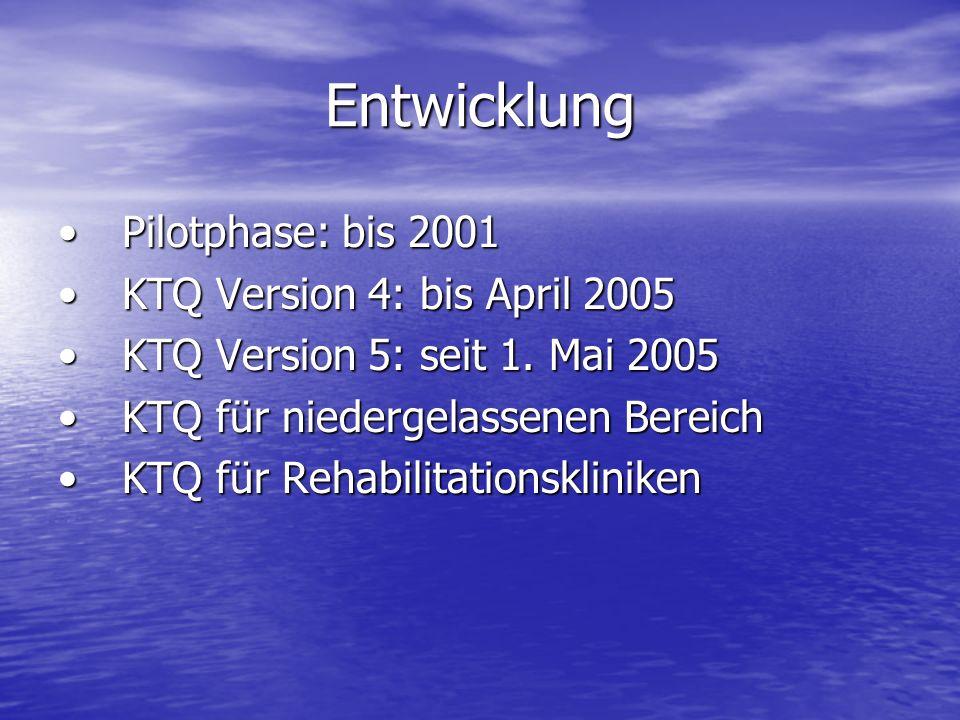 Entwicklung Pilotphase: bis 2001 KTQ Version 4: bis April 2005