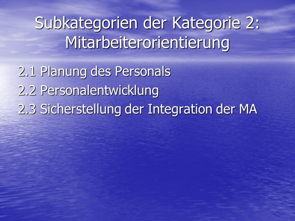 Subkategorien der Kategorie 2: Mitarbeiterorientierung