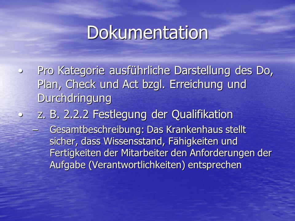 DokumentationPro Kategorie ausführliche Darstellung des Do, Plan, Check und Act bzgl. Erreichung und Durchdringung.