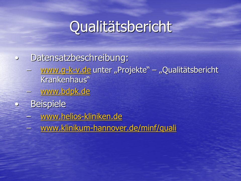 Qualitätsbericht Datensatzbeschreibung: Beispiele