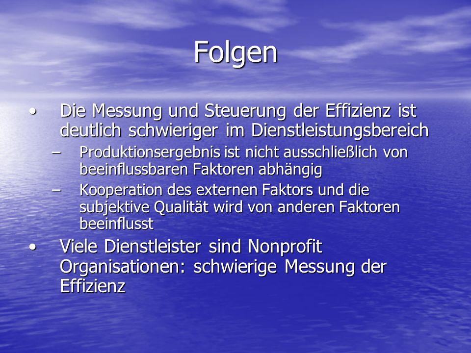 FolgenDie Messung und Steuerung der Effizienz ist deutlich schwieriger im Dienstleistungsbereich.