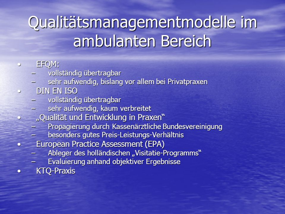 Qualitätsmanagementmodelle im ambulanten Bereich
