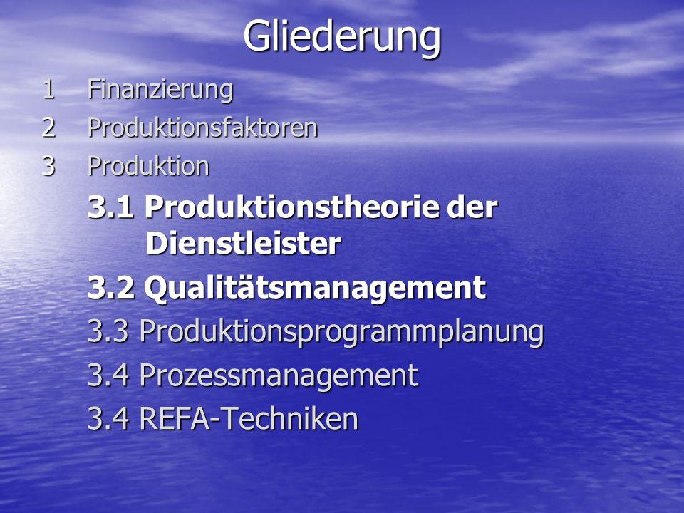 Gliederung 3.1 Produktionstheorie der Dienstleister