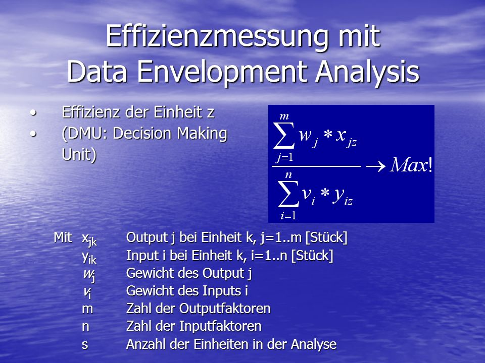 Effizienzmessung mit Data Envelopment Analysis