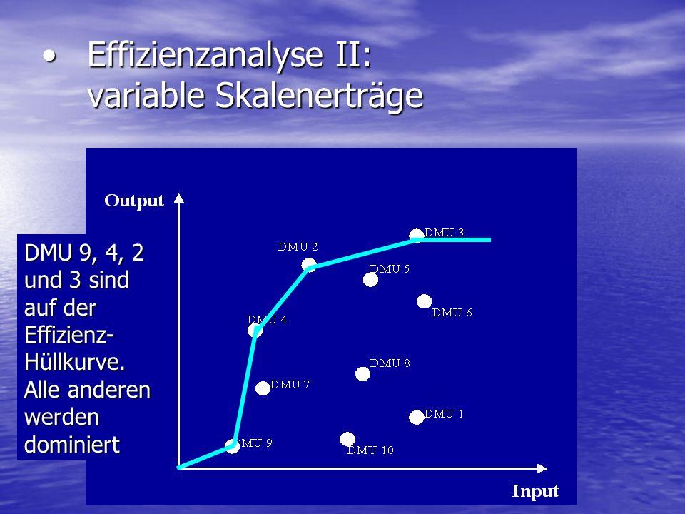 Effizienzanalyse II: variable Skalenerträge