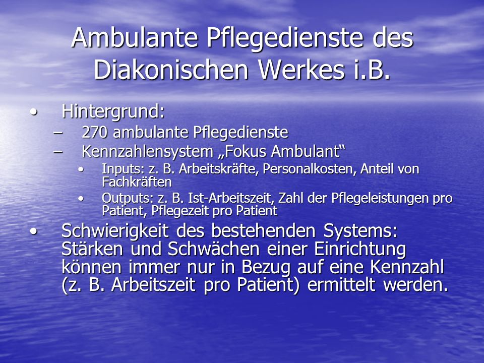 Ambulante Pflegedienste des Diakonischen Werkes i.B.
