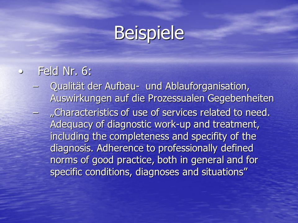 BeispieleFeld Nr. 6: Qualität der Aufbau- und Ablauforganisation, Auswirkungen auf die Prozessualen Gegebenheiten.