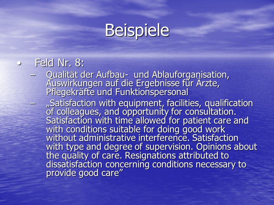 Beispiele Feld Nr. 8: Qualität der Aufbau- und Ablauforganisation, Auswirkungen auf die Ergebnisse für Ärzte, Pflegekräfte und Funktionspersonal.