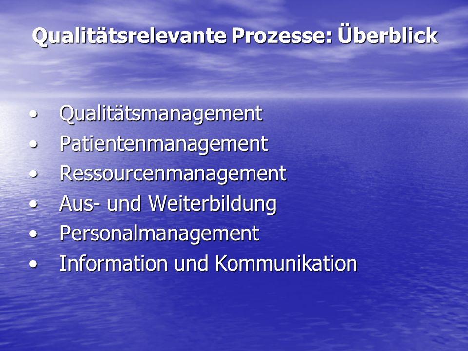 Qualitätsrelevante Prozesse: Überblick