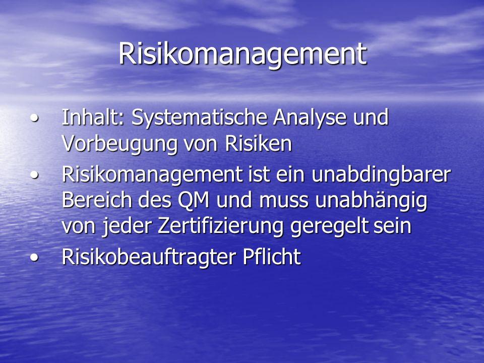 Risikomanagement Inhalt: Systematische Analyse und Vorbeugung von Risiken.