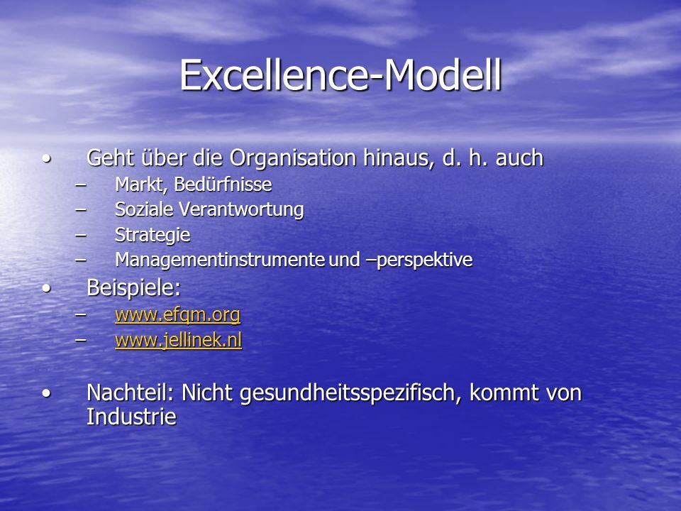 Excellence-Modell Geht über die Organisation hinaus, d. h. auch