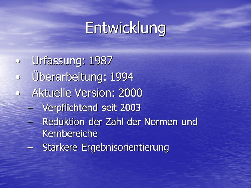 Entwicklung Urfassung: 1987 Überarbeitung: 1994 Aktuelle Version: 2000