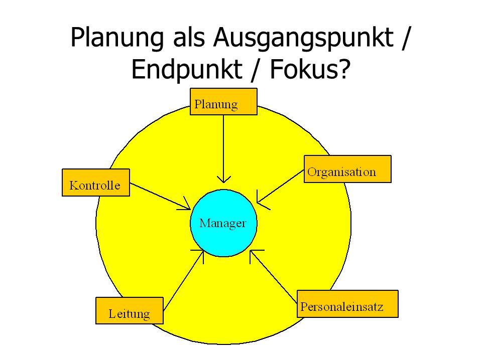 Planung als Ausgangspunkt / Endpunkt / Fokus