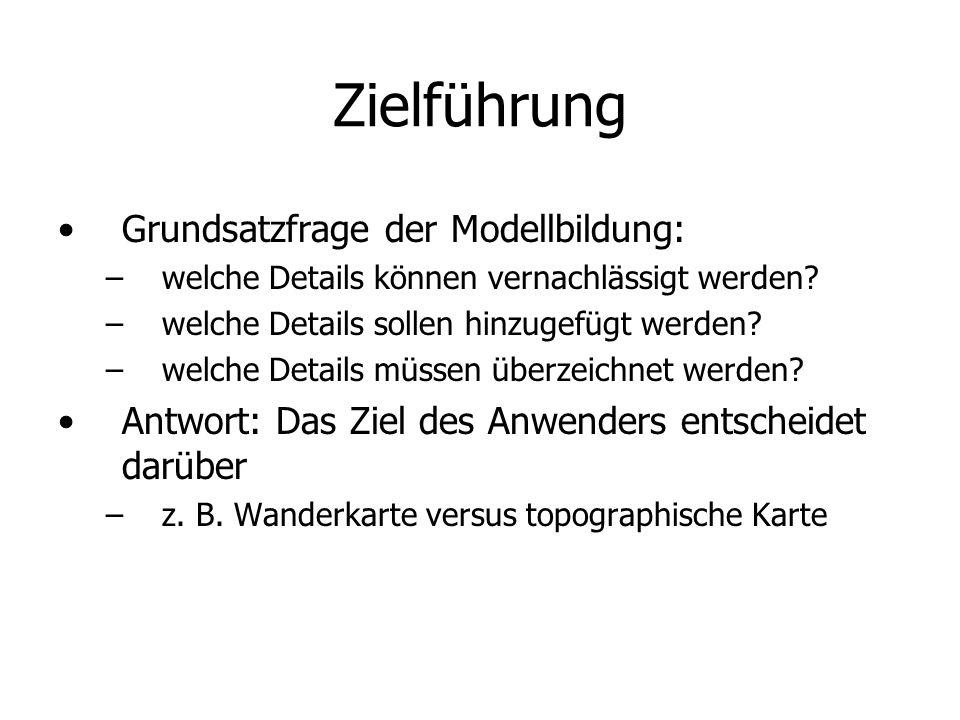 Zielführung Grundsatzfrage der Modellbildung: